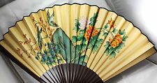 Vintage Oriental Yellow Japanese or Chinese Bamboo Wall FAN Flowers & Birds