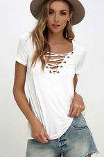 Womens T-Shirt Short Sleeve Loose Tops Casual Blouse White S/UK Size 6-8