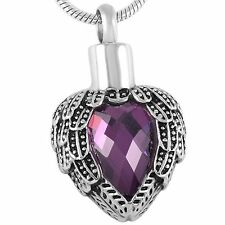 Stainless Steel Feathered Heart Cremation Pendant Urn Jewelry Holds Ashes Purple