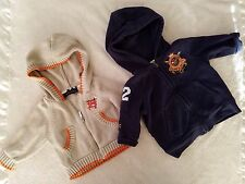 LOT Burberry Ralph Lauren Baby Boys Soft Jacket Cardigan Sweater hooded Sz 3-6M