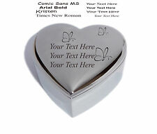 Personalised Heart Trinket Jewellery Box with Butterflys - Engraved & Free P&P