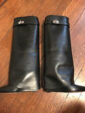 Givenchy  - Shark Lock Knee-High Leather Wedge Boots - size 37