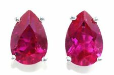 5 Ct Created Ruby 10x7mm Pear Stud Earrings .925 Sterling Silver
