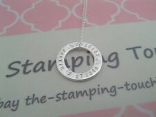 personalised hand stamped Necklace - silver filled circle - 23mm