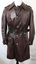 Brooks Brothers Brown Military Style Leather Trench Coat Belt Wool Lined Mens 42