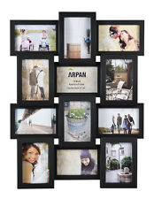 ~ Multi Aperture Photo Picture Frame - Holds 12 X 6''X4'' Photos   Black -1014BK