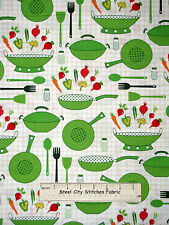 Kitchen Cook Vegetable Food Cotton Fabric Robert Kaufman Cultivate & Cook Yard