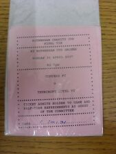 30/04/2007 Ticket: Rotherham Charity Cup Final, Conyers v Thurcroft Hotel [At Ro
