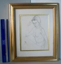 LP16 (f) Beautiful Vintage Nude Pencil Drawing Framed