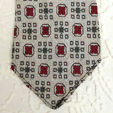 Vintage Tootal tie 1950s GOLD QUALITY woven polyester WHITE green red patterned