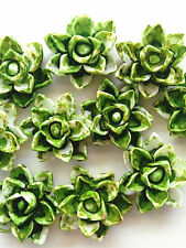 NEW 10pcs green Resin lotus Flower flatback Appliques For phone/wedding/crafts