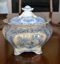 Antique 1800s DROMEDARY? CAMEL BLUE & WHITE Transferware FOOTED BOWL WITH COVER