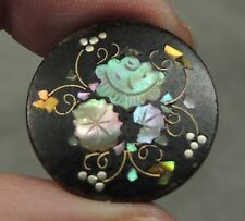 MOP PEARL SHELL INLAY IN HORN BUTTON ~ FLORAL DESIGN