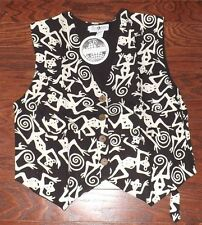 (NEW) Ladies Daily Planet 100% Rayon Black and White MONKEY VEST (Size XL)