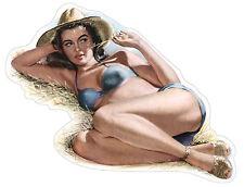 Ragazza retrò sexy girl mädchen retro  etichetta sticker 12cm x 9cm