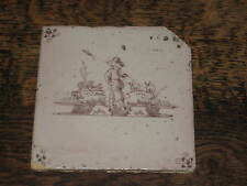 ANTIQUE DELFT  TILE PAINTED FIGURE ON WALKING ON A STREAM