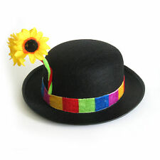 Funny Clown Hat with Flower Multi Colors Adult Halloween Costume Accessory