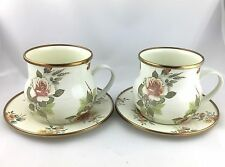 PAIR Mackenzie Childs Enamelware MUGS and Saucers Milk White Floral