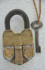1930's Old Brass Unique Solid Embossed Silver Decorated Handcrafted Pad Lock