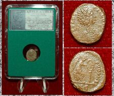 Roman Empire Coin AELIA FLACILLA Victory Writing Chi-Ro On Reverse AE4 Bronze