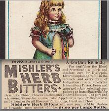 Mishlers Herb Bitters Philadelphia Fever Tonic Cure Tambourine Music Trade Card