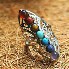 925 Silver Healing Hollow Stones Adjustable 7 Chakra Ring Thumb Reiki Gem Ring