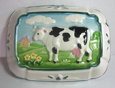 Jello Mold Cow in Landscape Green Trim on White Porcelain Towle