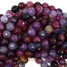 "10mm faceted agate round beads 15"" strand magenta purple"