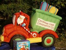 8' Gemmy Christmas Animated Dump Truck w/Santa Driving Airblown Inflatable