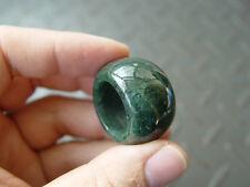 Natural Green Moss Agate Aquatic Weeds jade Round Circle Thumb Ring USA 10# 2294