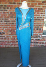 CREATIVE CREATIONS SEQUIN BEADED LONG SLEEVE BUILT IN BRA TURQUOISE BLUE DRESS 8
