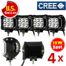 4x 18W 4 inch Cree LED Work Light Bar Spot Beam Off road 4WD UTE Driving Lamp