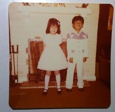 Vintage 70's Photography PHOTO CUTE ASIAN BOY GIRL KID NEW DUDS FIRST DAY SCHOOL