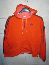 VINTAGE Sweat à capuche ADIDAS orange oldschool année 70 Ventex S made in France