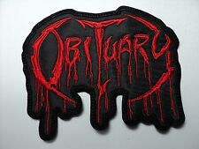 OBITUARY  RED    LOGO  EMBROIDERED PATCH