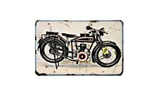 Fn Motorbike Sign Metal Retro Aged Aluminium Bike