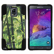 Samsung Galaxy Note 4 Hybrid Stand Silicone Hard Case Green Bamboo