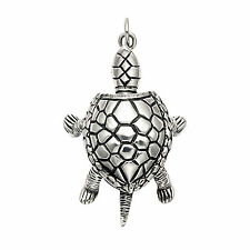 Large Sterling Silver Movable Box Turtle Pendant