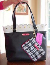 NWT Betsey Johnson Scallop Tote & Pouch Black Bone Bright Pink