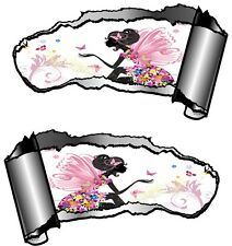 Small Pair Ripped Open Metal Rip GASH Fairy Princess & Butterfly Car Sticker