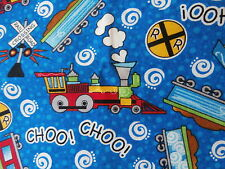 """CHILDRENS Ride The Rails on Blue cotton fabric Trains Rail 11.75"""" remnant NEW"""