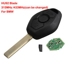 Keyless Entry Remote Key Fob Uncut HU92 Clicker 315mhz 433mhz For BMW E46 + Logo