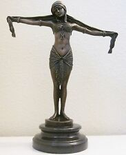 SIGNED EGYPTIAN DANCER CHIPARUS BRONZE SCULPURE STATUE ART DECO HOME FIGURIN 006