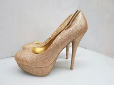 Charlotte Russe Gold Glitter Women's Platform Pumps Shoes Size 8 22182