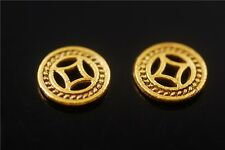 50pcs Golden Metal Beads Loose Spacers Craft Charms Jewelry Findings 10x1.5mm