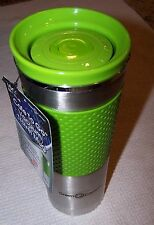 """GREEN CANTEEN """"Cafe To Go"""" 16oz Double Wall Thermal Travel Mug SILVER/GREEN~ NWT"""