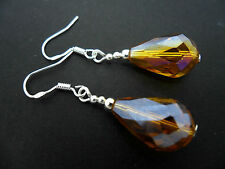 A PAIR OF AMBER CRYSTAL TEARDROP  EARRINGS WITH 925 SOLID SILVER HOOKS. NEW..