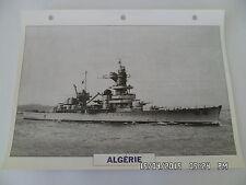 CARTE FICHE NAVIRES DE GUERRE ALGERIE 1932 CROISEUR LOURD