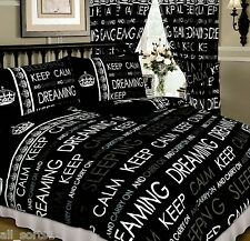 DOUBLE BED DUVET COVER SET KEEP CALM AND CARRY ON DREAMING BLACK GREY