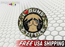 "5"" I Love Guns & Titties CAMO Vinyl Decal Gun Safe Case or Truck Rack Sticker"